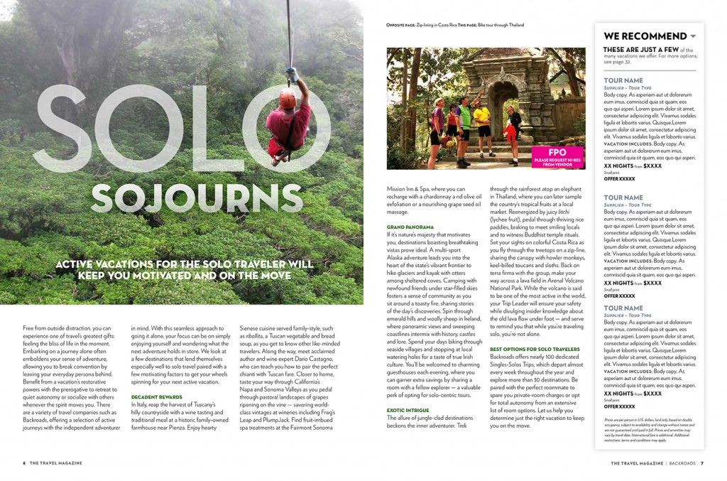The Travel Magazine - type treatments and layout