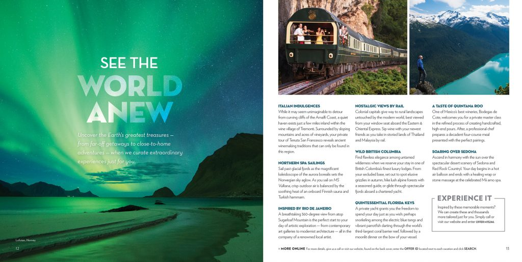Travel Redefined Magazine (Unforgettable Experiences spread - Early draft)
